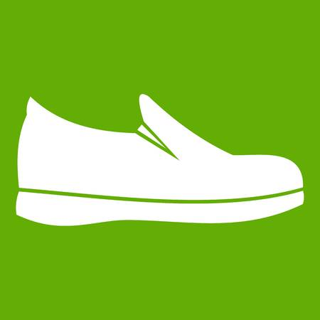 Shoes icon white isolated on green background. Vector illustration