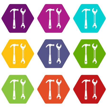 Hammer and wrench icon set many color hexahedron isolated on white vector illustration