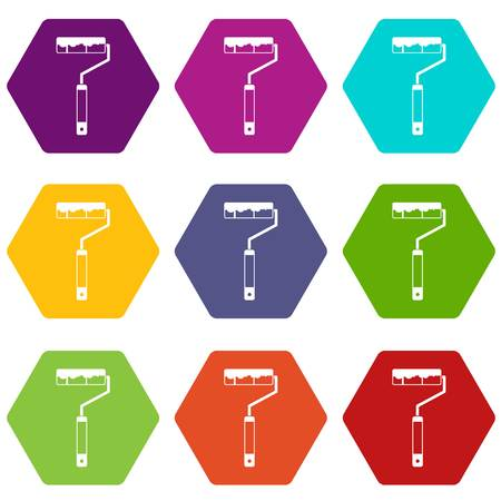 Paint roller icon set many color hexahedron isolated on white vector illustration