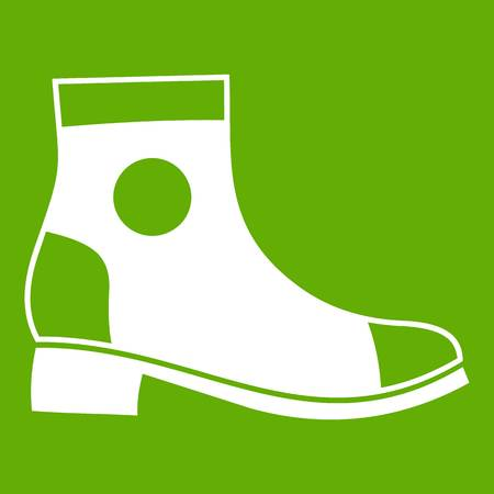 Men boot icon white isolated on green background. Vector illustration