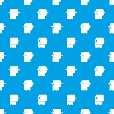 Roll of toilet paper on holder pattern repeat seamless in blue color for any design. Vector geometric illustration