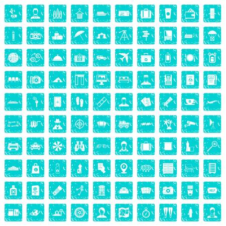 100 passport icons set grunge blue
