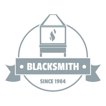 Retro blacksmith logo, simple gray style Illustration