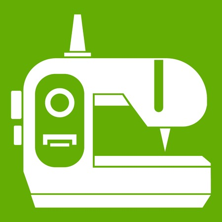 antique factory: Sewing machine icon green Illustration