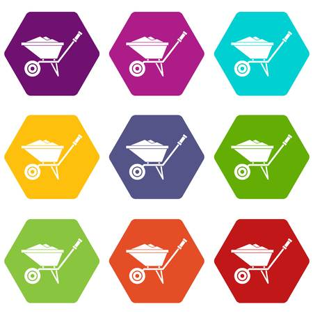 Wheelbarrow icon set color hexahedron Illustration
