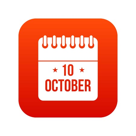 10 october calendar icon digital red Ilustrace