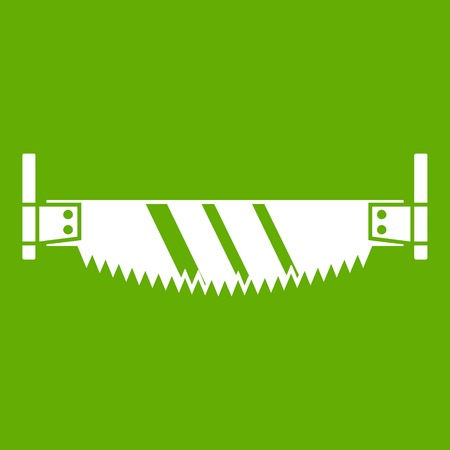 Two handled saw icon green