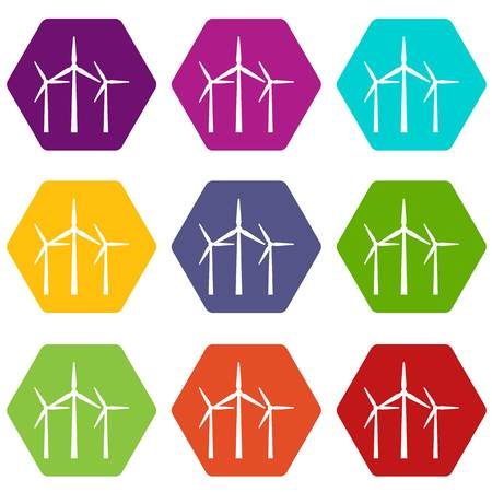 Wind turbines icon set color hexahedron