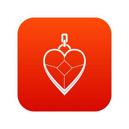 Heart shaped pendant icon digital red Illustration