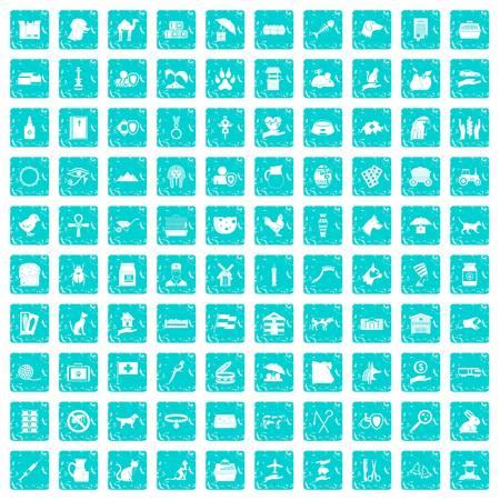 100 pets icons set grunge blue