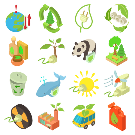 Ecology icons set. Isometric illustration of 16 ecology vector icons for web Ilustrace