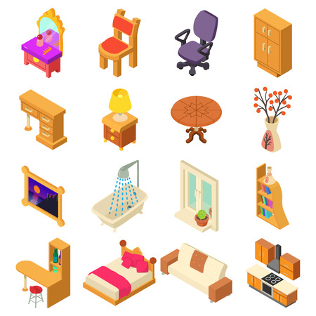 Home interior icons set. Isometric illustration of 16 home interior vector icons for web