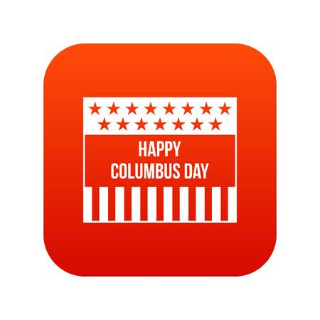 Happy Columbus day icon digital red for any design isolated on white vector illustration