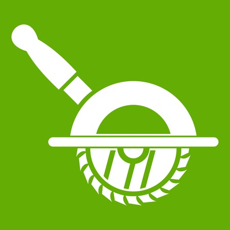 Circular saw icon white isolated on green background. Vector illustration Illustration