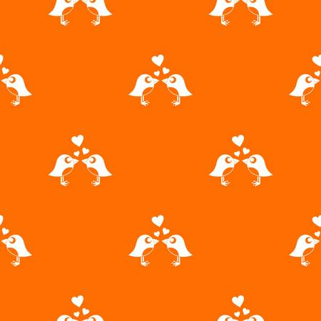 Two birds with hearts pattern repeat seamless in orange color for any design. Vector geometric illustration