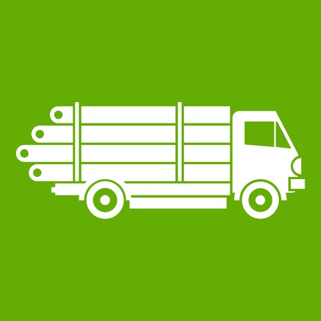 Log truck with the pile of logs icon white isolated on green background. Vector illustration