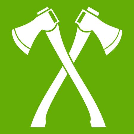 Two crossed axes icon white isolated on green background. Vector illustration Illustration
