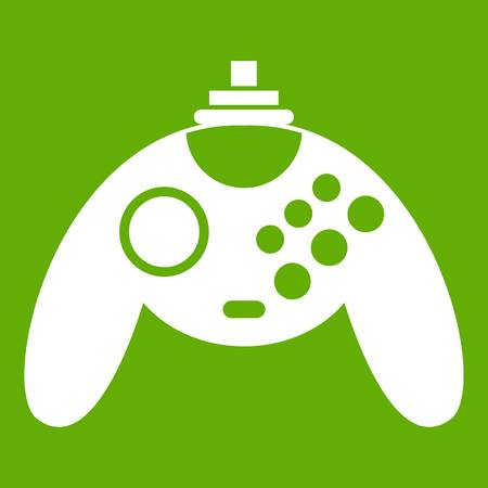 pc: Gamepad icon white isolated on green background. Vector illustration