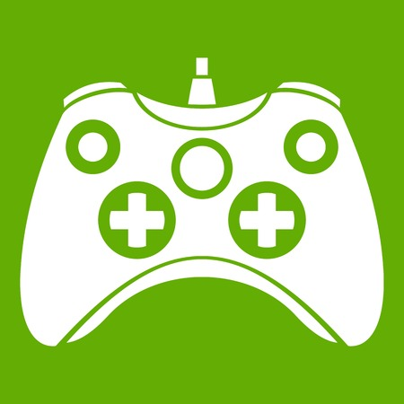 Video game controller icon white isolated on green background. Vector illustration Illustration