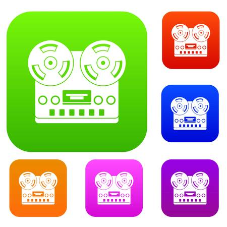 Retro tape recorder set icon color in flat style isolated on white. Collection sings vector illustration Ilustração