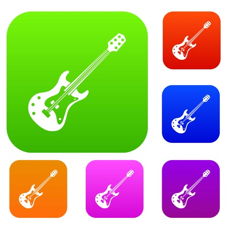 Classical electric guitar set icon color in flat style isolated on white. Collection sings vector illustration Vettoriali
