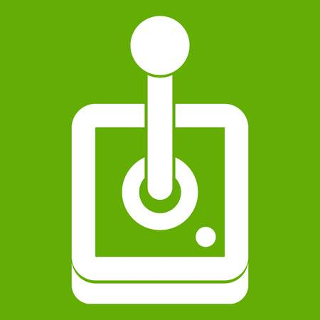 Joystick for computer games icon white isolated on green background. Vector illustration