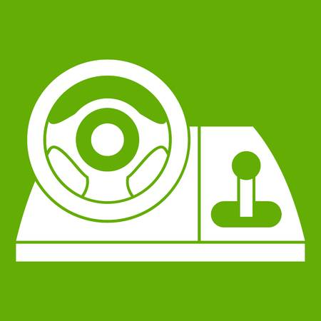Computer steering wheel icon white isolated on green background. Vector illustration Illustration