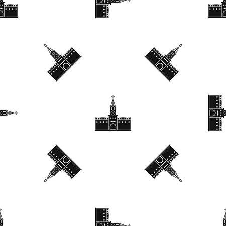 Russian kremlin pattern repeat seamless in black color for any design. Vector geometric illustration