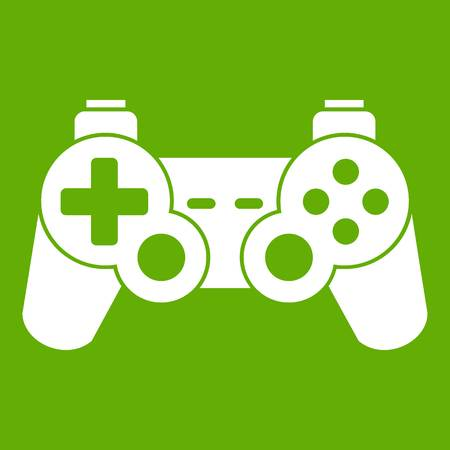 Game controller icon white isolated on green background. Vector illustration