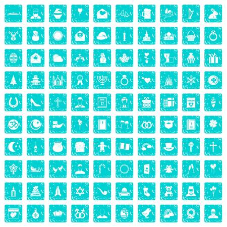 100 religious festival icons set in grunge style blue color isolated on white background vector illustration Illustration