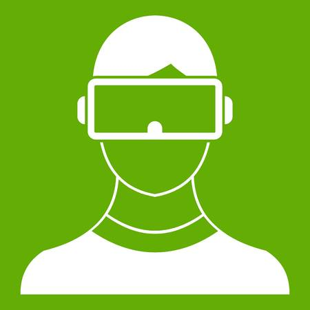 Virtual 3d reality goggles icon white isolated on green background. Vector illustration Illustration
