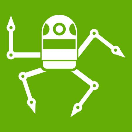 Spider robot icon white isolated on green background. Vector illustration