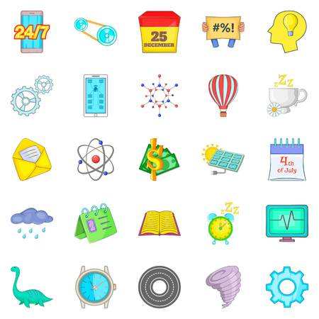 Past icons set. Cartoon set of 25 past vector icons for web isolated on white background Illustration