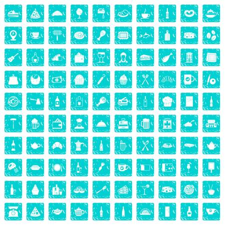 100 restaurant icons set in grunge style blue color isolated on white background vector illustration