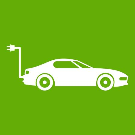 accumulator: Electric car icon white isolated on green background. Vector illustration