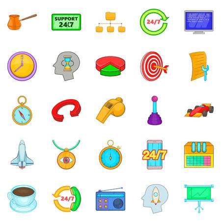 Around the clock icons set. Cartoon set of 25 around the clock vector icons for web isolated on white background