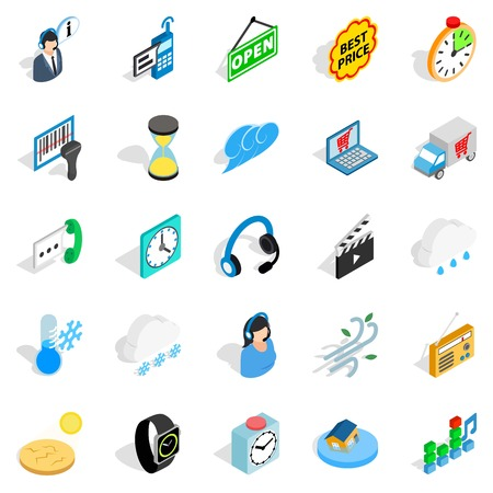 Temporal icons set. Isometric set of 25 temporal vector icons for web isolated on white background