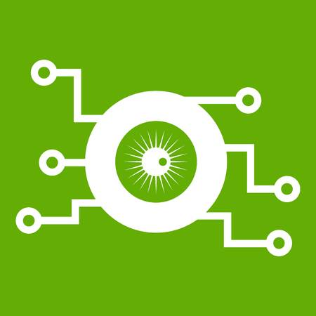 Cyber eye symbol icon white isolated on green background. Vector illustration