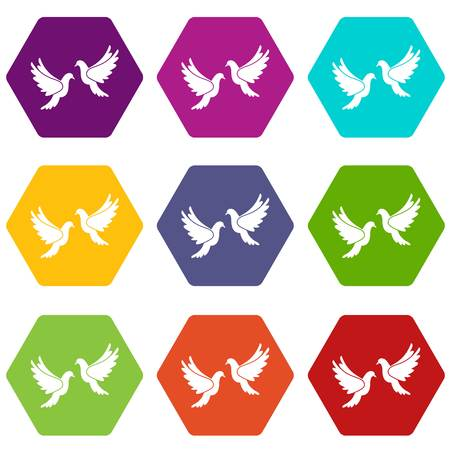 Wedding doves in simple style isolated on white background vector illustration