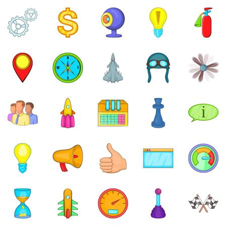 Temporary difficulty icons set. Cartoon set of 25 temporary difficulty vector icons for web isolated on white background Illustration