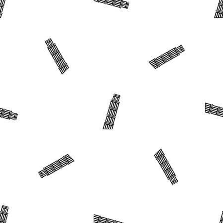 Tower of Pisa pattern repeat seamless in black color for any design. Vector geometric illustration