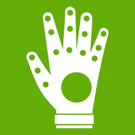 Electronic glove icon white isolated on green background. Vector illustration