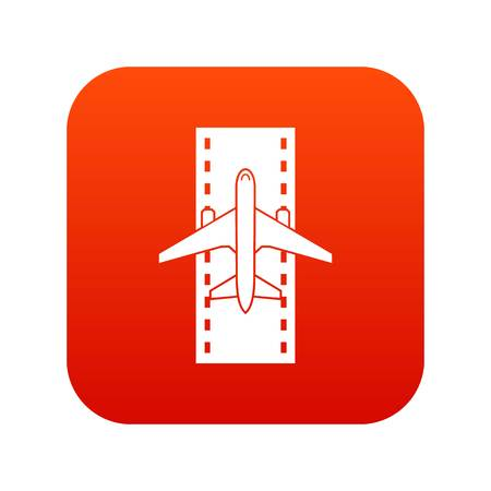 Airplane on the runway icon digital red for any design isolated on white vector illustration Illustration