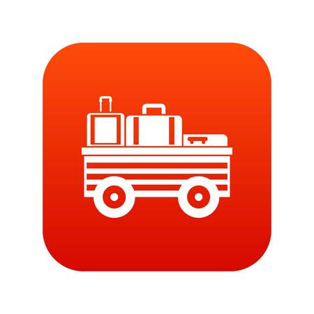 Service cart with luggage icon digital red for any design isolated on white vector illustration
