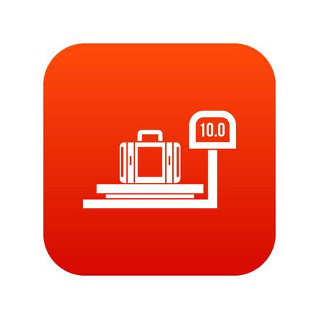 valise: Luggage weighing icon digital red for any design isolated on white vector illustration Illustration
