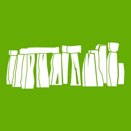 Stonehenge icon white isolated on green background. Vector illustration Illustration