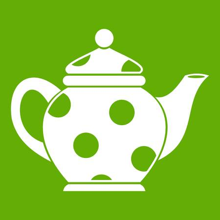 modern kitchen: Kettle icon white isolated on green background. Vector illustration
