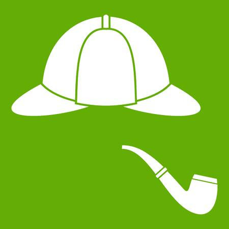 Hat and pipe icon white isolated on green background. Vector illustration