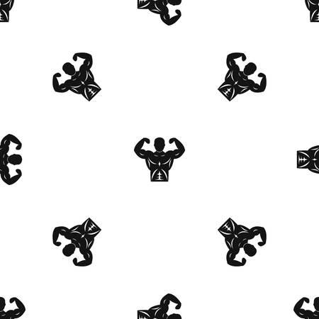 Athletic man torso pattern seamless black