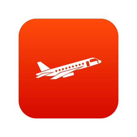 Airplane taking off icon digital red